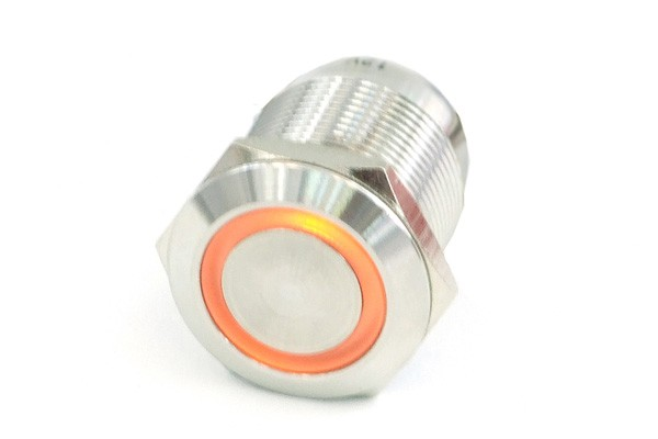 Phobya push-button 19mm stainless steel, orange lighting, with screw-on contacts 6pin