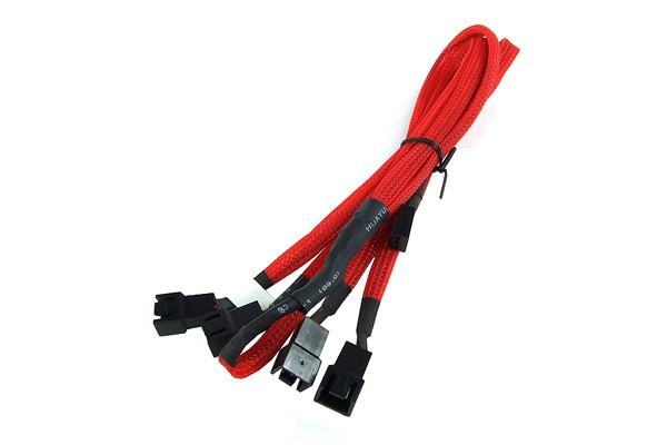 Y-cable 3Pin Molex to 4x 3Pin Molex 60cm - UV red