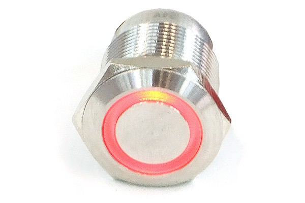 Phobya push-button vandalism-proof / bell push 16mm stainless steel, red ring lighting 5pin