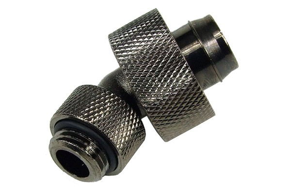 19/13mm compression fitting 45° revolvable G1/4 - knurled - black nickel
