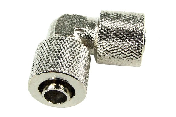 10/8mm L hose connector - knurled - silver nickel